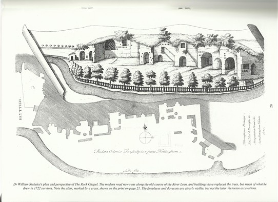 Photo:Dr William Stukeley's plan and perspective of the Rock Chapel.
