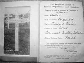 Photo:The original wooden cross on Harry Sheldon's grave at Roisel in a photograph sent from the War Office, before a permanent headstone was installed