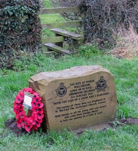 Photo:Memorial stone to 82 OTU crew lost near Laxton