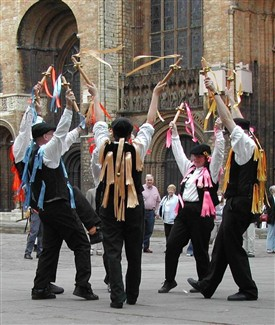 Photo:The Golden Ball dance, called after a pub in Worksop where morrismen performed in the C19th - here at Ely Folk Festival 2003.