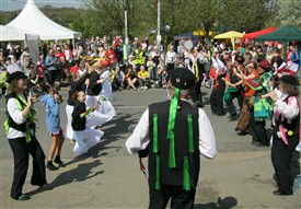 "Photo:The audience at Ollerton's St George's Day Festival join in the last ""Rattle Off"" dance, with Malcolm Smith playing the melodeon in the foreground - April 25th 2010."
