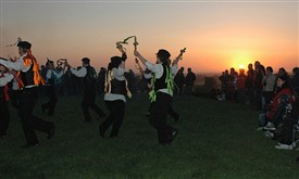 "Photo:Dancing ""Castle Hill"" at Laxton castle mound, sunrise at 5.28 am on 1st May 2011"