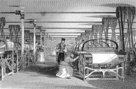 Photo:ABOVE: This fine engraving of power looms in operation in the 19th Century was published in 1835. The machines owe their originto the work of Edmund Cartwright of Marnham 50 years earlier.