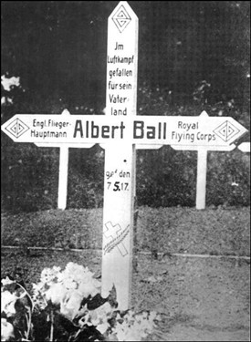 Photo:Original cross placed on Ball's grave by the Germans