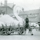Photo:5.  Class C devices consisted of ordinary wagons for junior members.  In 1907 Charles Street Methodists produced this remarkable swan for their Class C entry.  At the reins is Mr Reginald Sheldrake.