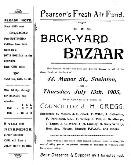 Photo:Bazaar in aid of Pearson's Fresh Air Fund, organised by Beatrice in 1905