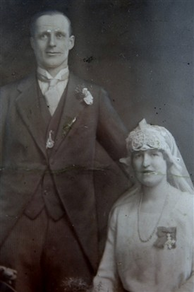 Photo:Beatrice - wearing her MBE - and Tom on their wedding day in 1923.