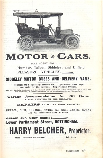 Photo:Humber cars may be hired from Mr Belcher, 1907