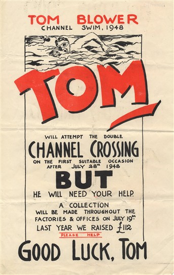 Photo:Poster in support of Tom Blower's double Channel Crossing, 1948