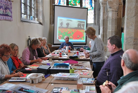 Photo:The group working on the picture in St.Wilfrid's Church, North Muskham