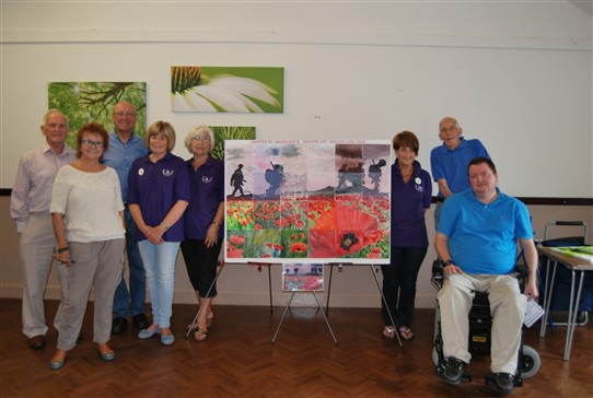 Photo:Members of the Newark and Muskham art groups with the finished work