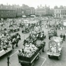Photo:1. Taken in 1939 this picture shows Sunday School devices drawn up in Newark Market place for judging.