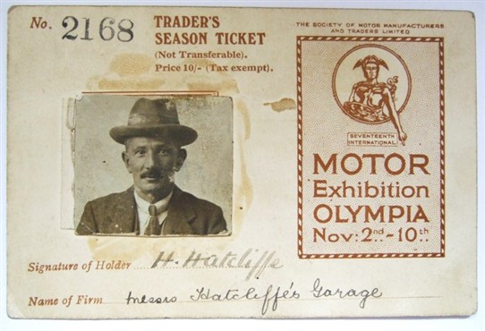 Photo:Mr Hatcliffe's Season Ticket to the 1923 Motor Show at Olympia