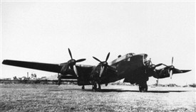 Photo:Halifax bomber at Hucknall airfield