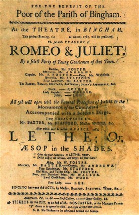 Photo:A playbill for the Bingham theatre, dated 1795