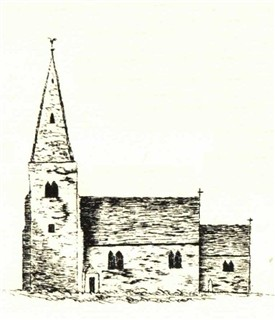 "Photo:Flawford/Flawforth church ""sketched from memory"" by a Mr Carver who was born at Ruddington"