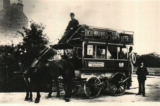 Photo:Charnwood Grove horse bus c.1890s featuring advertsing fror Richard Warwick & Sons