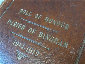 Photo:Leather-bound: the front cover of the Bingham Book of Remembrance
