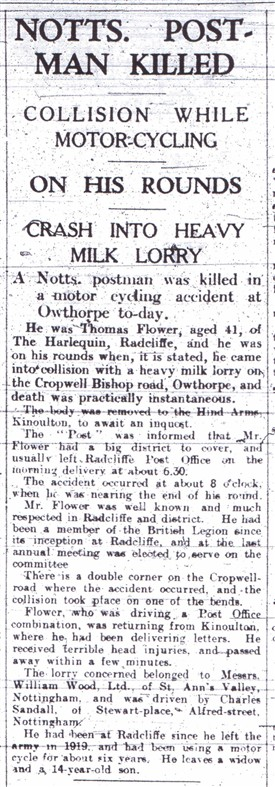 Photo:Report of Tom Flower's untimely death in 1936