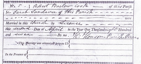 Photo:Marriage of Robert Barlow Cook and Sarah Sandaver recorded in the Southwell Minster parish registers, 2nd April, 1807
