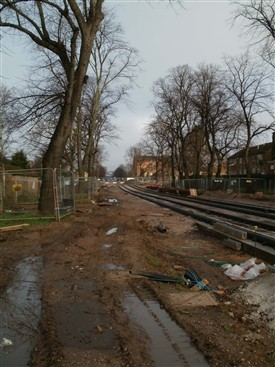 Photo:Queen's Walk tram works looking North Dec 2013