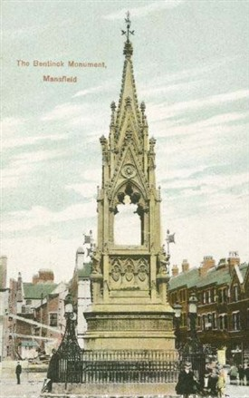 Photo:The Bentinck Memorial in Mansfield Market Place - with space for the central statue clearly visible