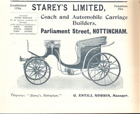 "Photo:The image may be of a horse-drawn carriage, but this advert for Stareys Ltd from 1904 already identifies them as builders of ""automobile carriages""."