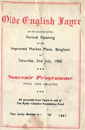 Photo:Souvenir Programme for Bingham's 'Olde English Fayre' of July 1960