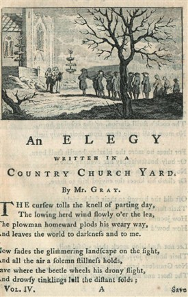 Photo:Title page from Thomas Gray's 'Elegy' from Vol.IV of 'A Collection of Poems in Six Volumes' published by Robert Dodsley in 1775.