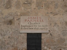 Photo:Plaque in the cell at Colchetser Castle where Parnell was held