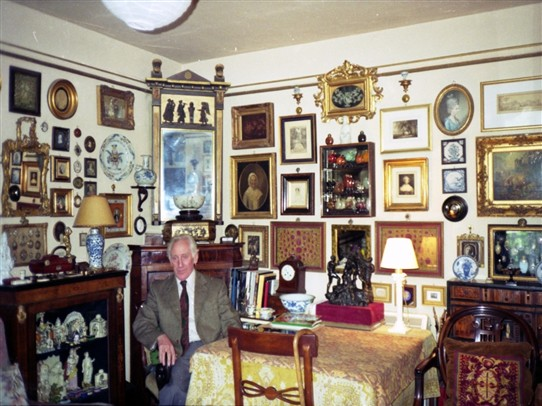 Photo:Peter Brannan in his Welbourn cottage, late 1980s