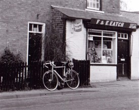 Photo:Detail from Reg Baker's photograph of Chapel Street, Bramcote showing his trusty bicycle