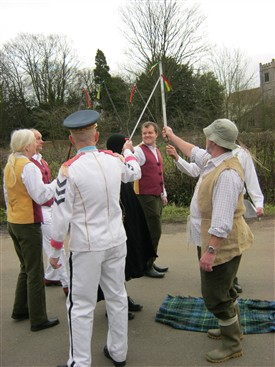 Photo:Sullivan's Sword Plough Play 2012 the sword dance dispatches Beelzebub