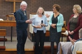 Photo:Councillor Chris Rice Mayor of Stapleford being presented with one of the books by (left to right) Janet Cross, Cheryl Cooper & Sharon Bosworth at our monthly U3A meeting.