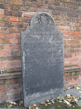 Photo:Tom Booth's gravestone on the south side of St.Nicholas' church today (2013)