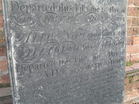 Photo:Spaces left on the gravestone to record the internment of his wife - but never used