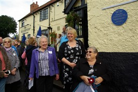 Photo:Pictured at the unveiling of the plaque are (left) Barbara Worrall, Chairman of the Lowdham Local History Society, Harold Cootam's GreatGranddaughter, and (seated) his Granddaughter, Wendy Gell.