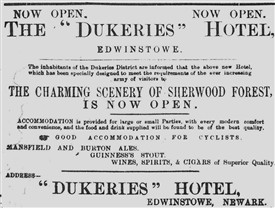 Photo:Happy times: Announcement of the opening of the Dukeries Hotel, 1897