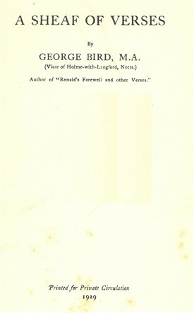Photo:Title page of Bird's second collection of poetry, 'A Sheaf of Verses', 1929
