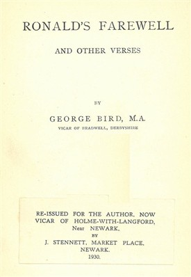 Photo:Title page of the 1930 reprint (by J. Stennet of Newark) of Bird's first collection of verses.
