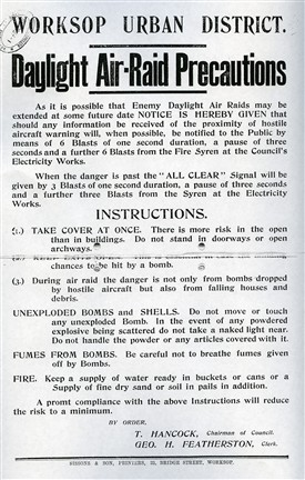 Photo:What to do in a Zeppelin raid - advice issued in nearby Worksop
