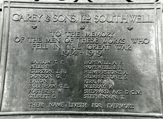 Photo:List of those who served and died from Carey & Sons