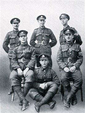 Photo:Comp. Sergt-Major W. Stokes, D.C.M. and sergeants of C. Company 1/8th Btn. Sherwood Foresters, 1917