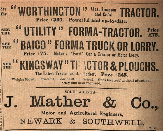 "Photo:A plethora of new tractors being offered to farmers around Newark and Southwell.  Top of the list is the 'Worthington' which is attributed to James Simpson & Co [of Balderton near Newark]. Simpsons are known to have imported ""INGECO"" barn engines from a Worthington subsidiary; J. Mather & Co. were one of the agents.  INGECO also made tractors."
