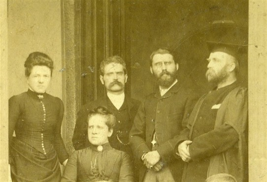 Photo:Stern faces all round: teachers at a private (but unknown) school in Newark, c.1885