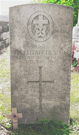 Photo:For many years Ada Youngs headstone carried the wrong date, the 17th was the date she was buried and the year said 1919. After contacting the Commonwealth War Graves Commission this was put right.