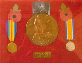 Photo:James Creamer's war medals.  The plaque reads J.W. Creamer 1894-1918