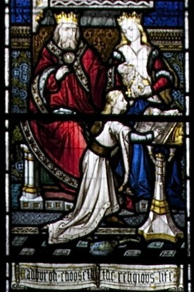 Photo:Victorian stained glass showing St Eadburgh and her parents