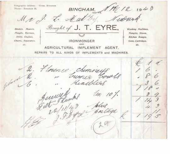 Photo: Illustrative image for the 'J T Eyre - Ironmonger of Bingham' page