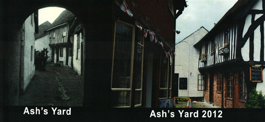 Photo:In the North West corner of Newark Market Place - Only the black and white building at the top of the yard (left) survives today (right), as Ash's Yard has been redeveloped to form Queen's Head Court.